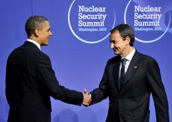 United States President Barack Obama welcomes President Jose Luis Rodriguez Zapatero of Spain