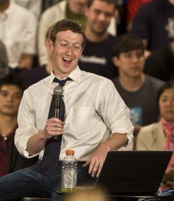 "Facebook CEO Mark Zuckerberg participates in an online ""town hall"" at Facebook headquarters in Palo Alto, California"