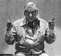 "Composer Leonard Bernstein rehearses his opera ""A Quiet Place"""