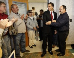 Giannoulias greeted by supporters in Peoria, Illinois