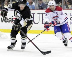 Penguins Despres and Canadiens Gionta in Pittsburgh