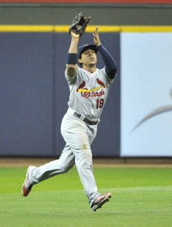 Cardinas' Jon Jay catches a pop-up during game 2 of the NLCS in Milwaukee