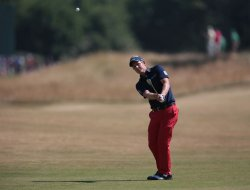 Luke Donald plays into the ninth green at the Open Championship