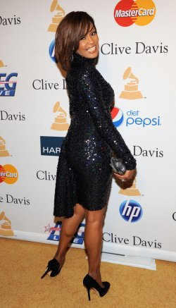 Whitney Houston arrives at pre-Grammy gala honoring David Geffen in Beverly Hills, California