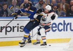 St. Louis Blues Dmitrij Jaskin and Edmonton Oilers Adam Larsson