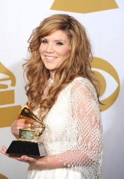 Alison Krauss and Union Station Holds Grammy at the 54th annual Grammy Awards at the Staples Center in Los Angeles