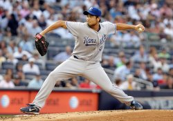 Kansas City Royals starting pitcher Bruce Chen throws a pitch at Yankee Stadium in New York
