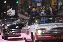 """Cast members of """"Kung Fu Panda 3"""" ride in the 84th Annual Hollywood Christmas Parade in Los Angeles"""