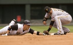 Rockies Barmes Out Stealing Against Pirates Cedeno in Denver