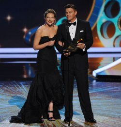 Anna Torv and David Boreanaz present an award at the 63rd nnual Primetime Emmy Awards in Los Angeles