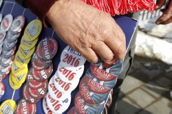 Donald Trump for President rally buttons for sale in New Hampshire