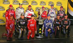 Chase Drivers pose for a group photo at Richmond International Speedway in Richmond, Virginia