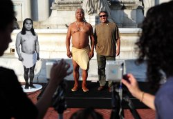 "Performance Artist James Luna's ""Take a Picture with a Real Indian"" on Columbus Day in Washington"