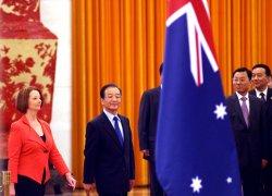Australian Prime Minister Gillard attends welcoming ceremony in Beijing