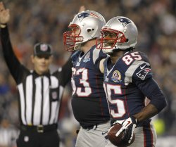 Patriots Lloyd and Connolly celebrate touchdown against Texans at Gillette Stadium in Foxborough, MA
