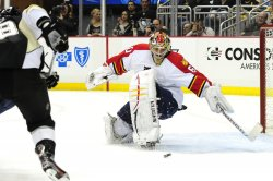 Panthers goalie Jose Theodore deflects shot in Pittsburgh