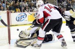 Ottawa Senators Colin Greening Shot Misses Goal in Pittsburgh