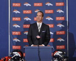 Peyton Manning introduced by the Broncos in Denver, Colorado