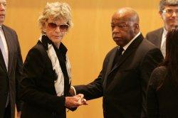 Elijah Cummings greets Jean Kennedy at the wake of Senator Edward Kennedy (D-MA) in Boston