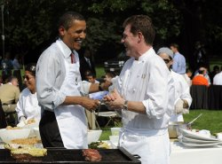 U.S. President Obama hosts barbeque for young men from local schools on South Lawn of the White House.