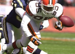 Cleveland Browns Kevin Johnson fumbles after a short catch