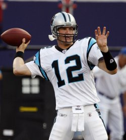 Carolina Panthers quarterback Josh McCown before a NFL Preseason game against the New York Giants at Giants Stadium
