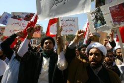 Iranian demonstrators protest in front of the Bahrain embassy in Tehran