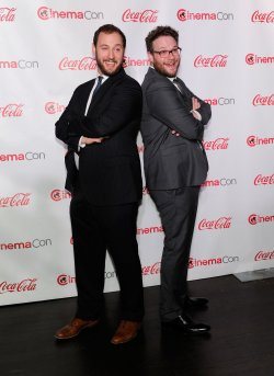 Evan Goldberg and Seth Rogen arrive at the 2014 CinemaCon Awards Ceremony in Las Vegas