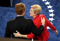 Elizabeth Warren delivers remarks at the DNC convention in Philadelphia