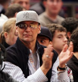 Actor Jimmy Smits watches the New York Knicks play the Detroit Pistons at Madison Square Garden