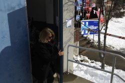 Voters exiting polling station in Manchester, New Hampshire