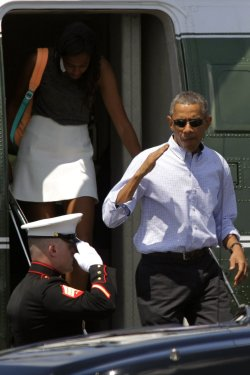 President Barack Obama arrives at Martha's Vineyard Airport