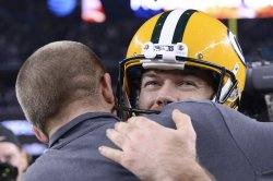 Green Bay Packers kicker Mason Crosby being congratulated