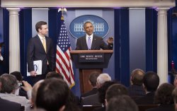 President Obama attends the White House Briefing in Washington