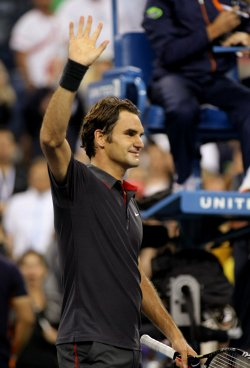 Roger Federe defeats Juan Monaco at the U.S. Open in New York