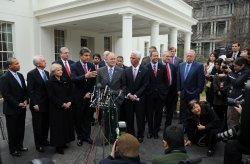 Vermont Gov. Douglas speaks to the media at the White House in Washington.