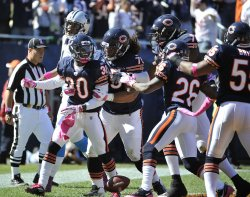Bears celebrate touchdown after interception against Panthers in Chicago