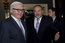 German Foreign Minister Frank-Walter Steinmeier in Jerusalem with Israeli Foreign Minister Avigdor Lieberman