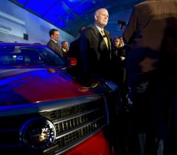 GM Chair and CEO Akerson talks to reporters at 2013 Cadillac ATS reveal in Detroit