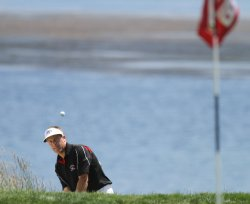 Stuart Appleby of Australia chips up to the 18th green on day three of the U.S. Open in Pebble Beach, California