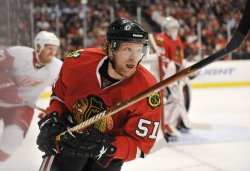 Blackhawks Campbell skates against Red Wings in Chicago