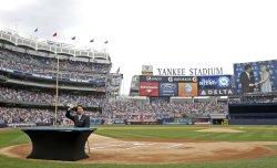 Hideki Matsui retires a Yankee at Yankee Stadium