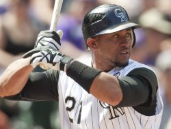 Rockies Catcher Olivo Bats in Denver