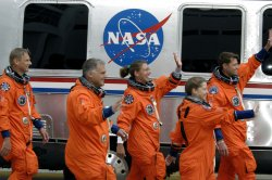 Crew prepares to board Space Shuttle Atlantis