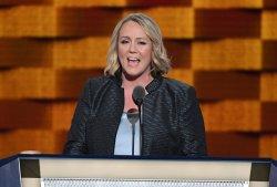 EMILYÕs List President Stephanie Schriock addresses delegates at the DNC convention in Philadelphia