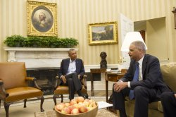 President Obama meets with Attorney General Holder on Ferguson in Washington, D.C.