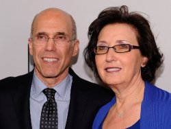 Jeffrey Katzenberg and Madeline Sherak appear at the 2014 CinemaCon in Las Vegas