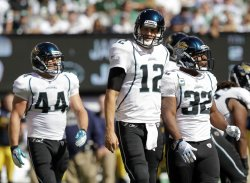 Jacksonville Jaguars Luke McCown and Maurice Jones-Drew at MetLife Stadium in New Jersey