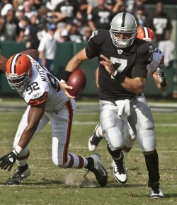 Raiders QB JKyle Boller runs against the Browns in Oakland, California