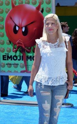 "Tori Spelling attends ""The Emoji Movie"" premiere in Los Angeles"